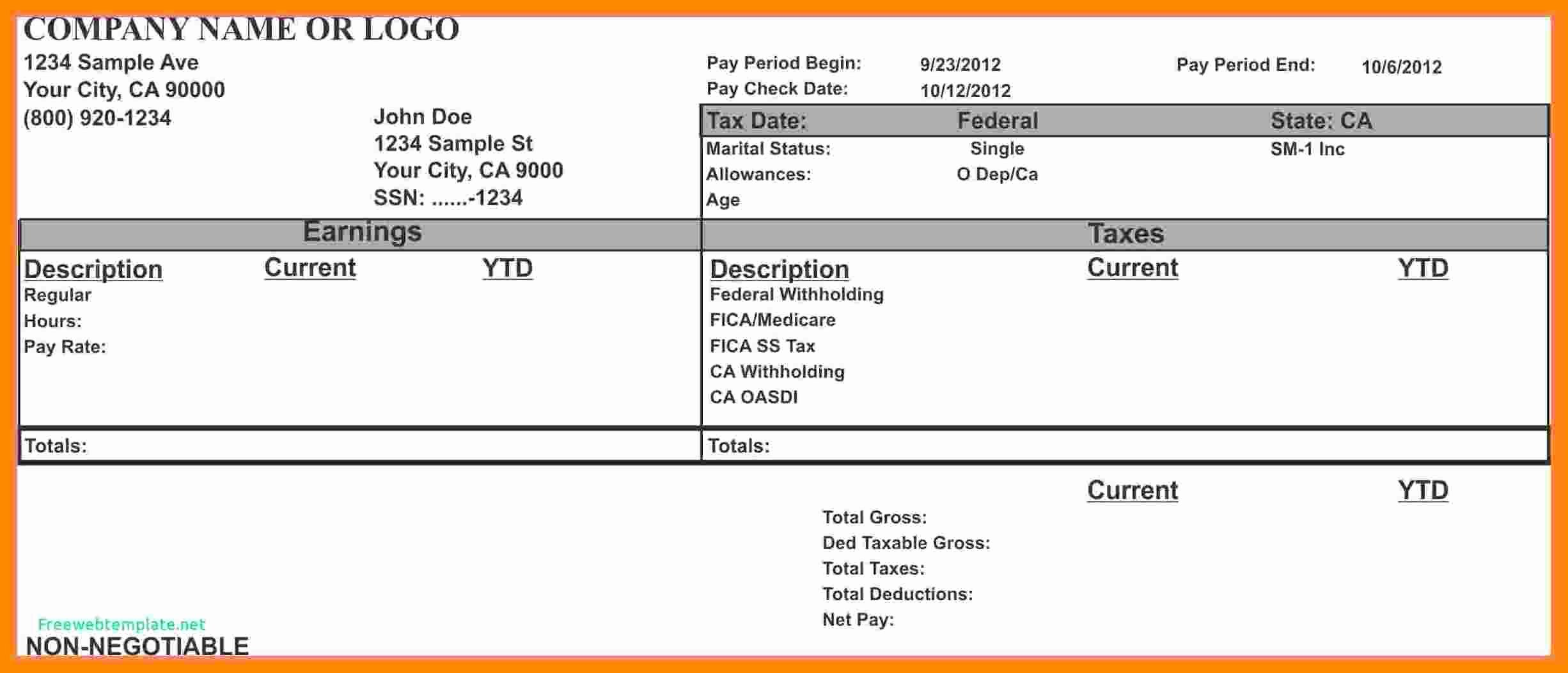 11 1099 pay stub template free