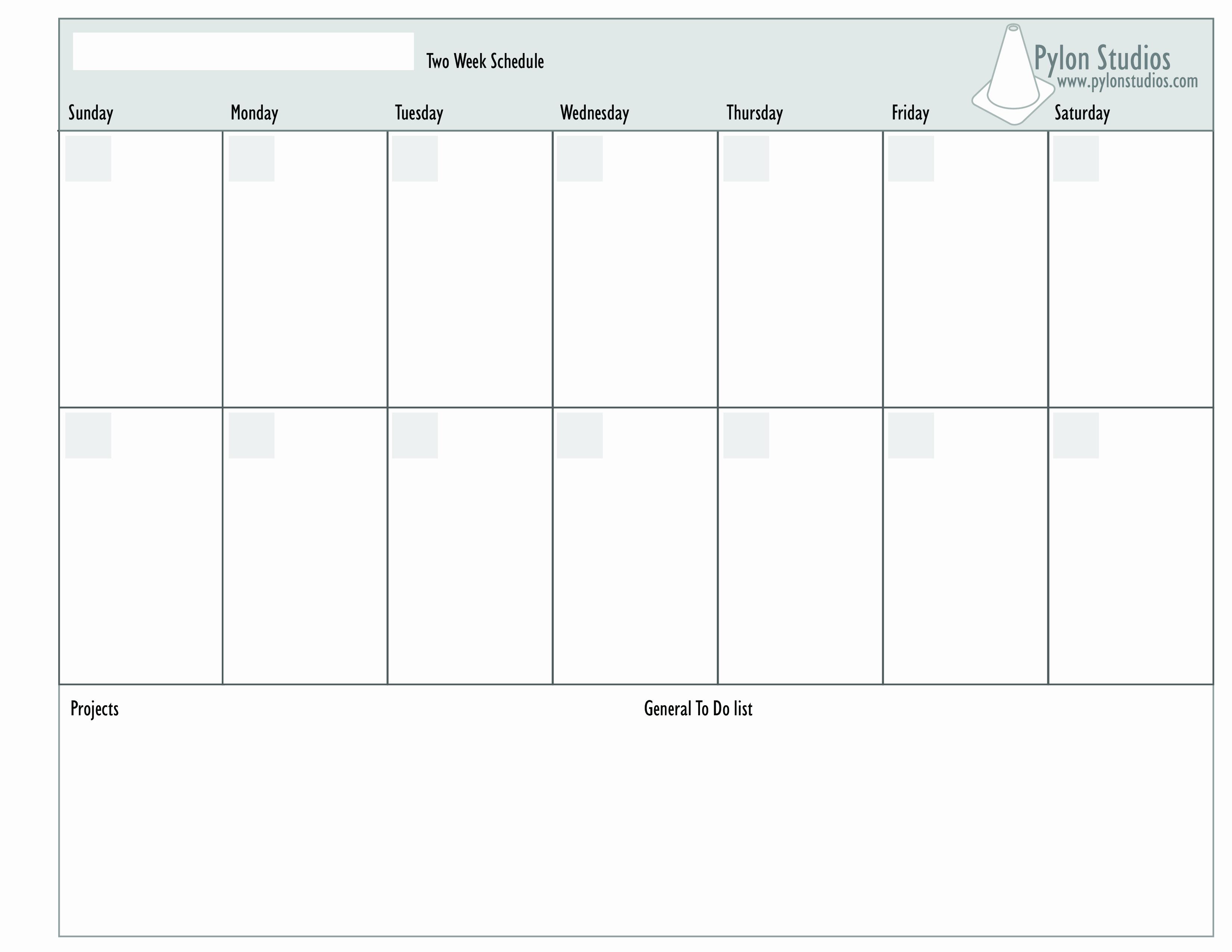 2 Week Schedule Template Elegant Free 2 Week Calendar