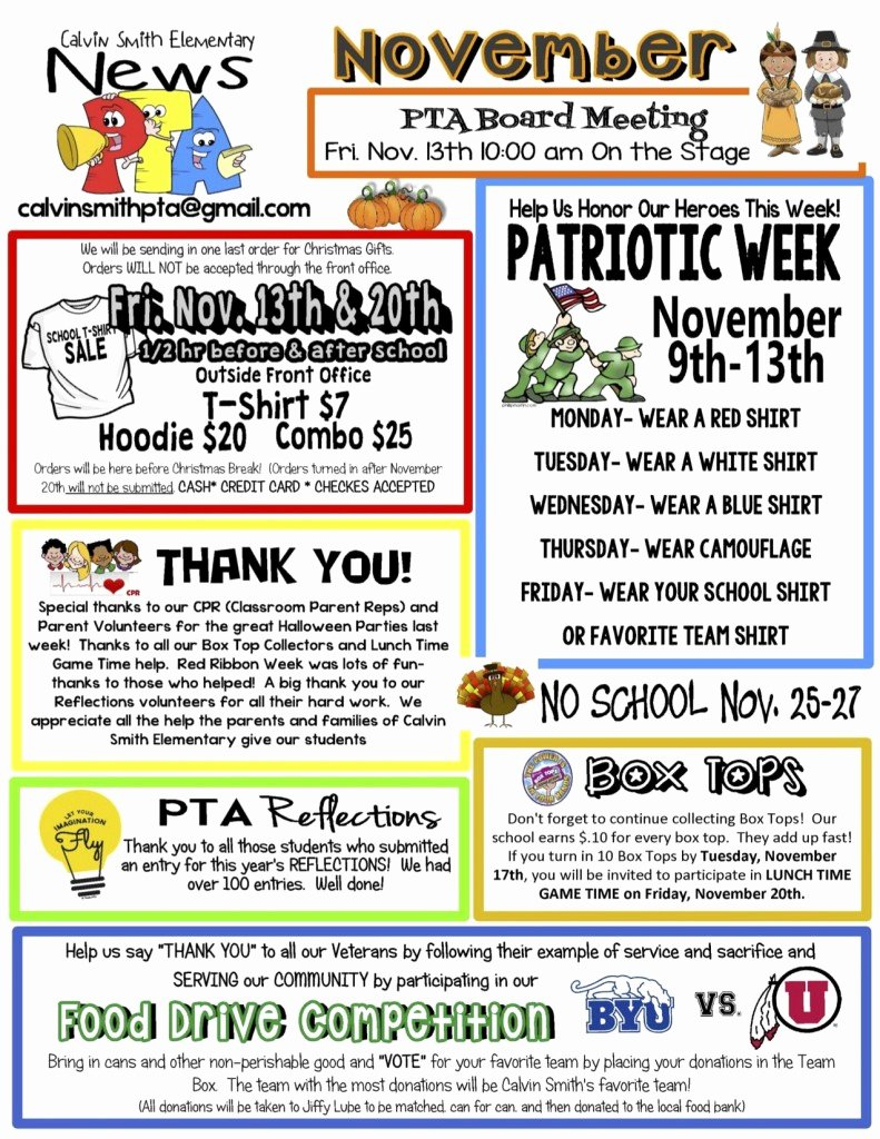 3rd Grade Newsletter Template Best Of November Pta Newsletter