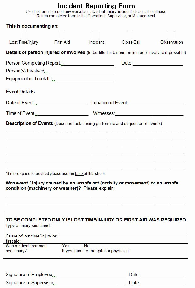 Accident Report Template Word Awesome Work Incident Report Template