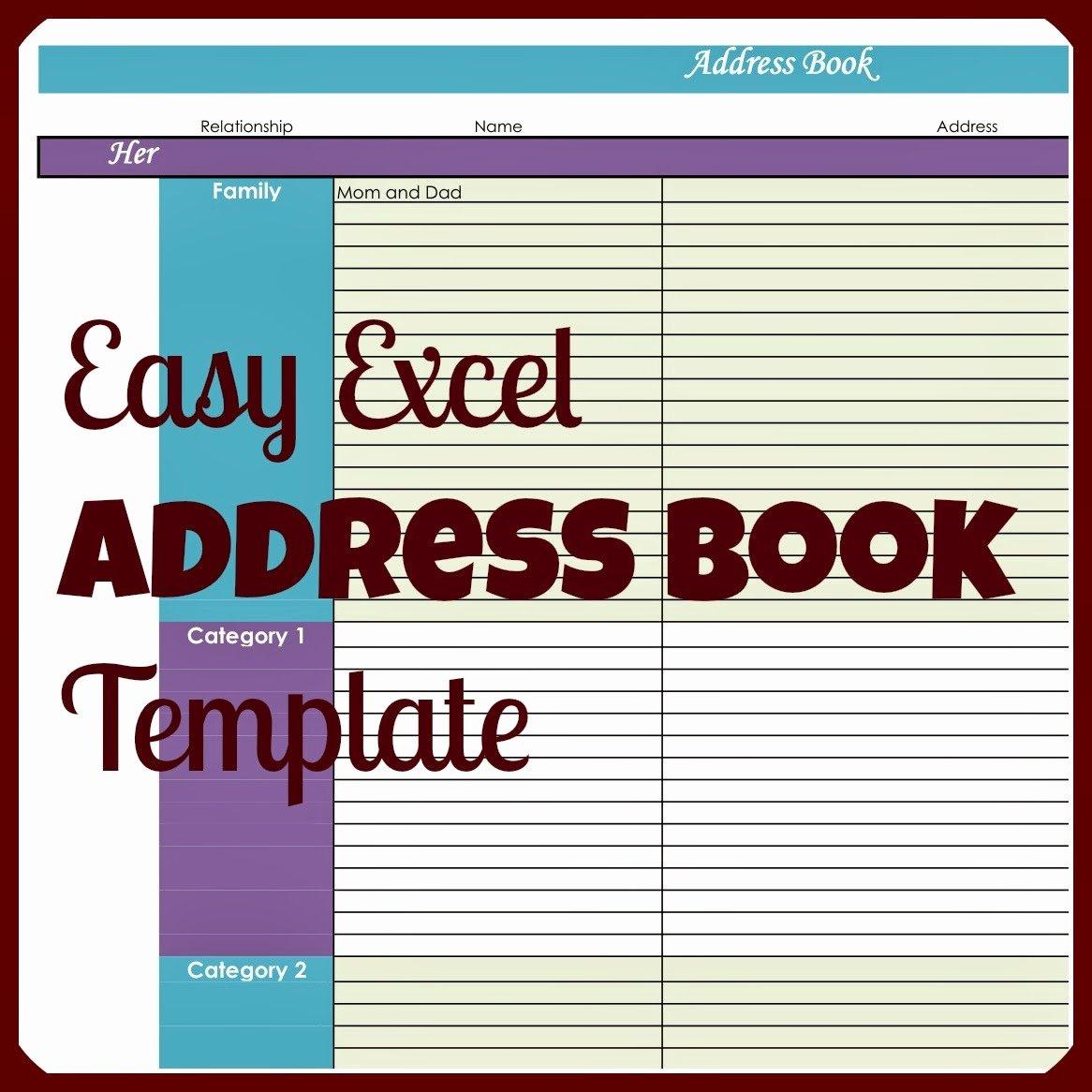 Address Book Template Free Unique Laura S Plans Easy Excel Address Book Template