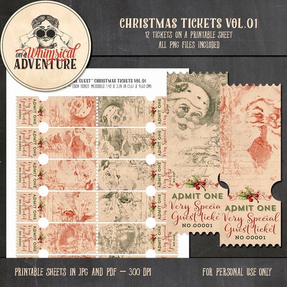 Admit One Ticket Printable Beautiful Christmas Digital Scrapbooking Digital by Awhimsicaladventure