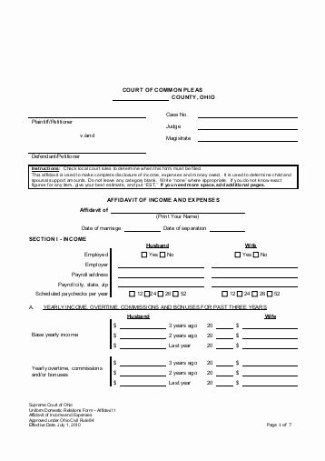 Affidavit Of Income Awesome In E and Expense Worksheet Independent Enrollment