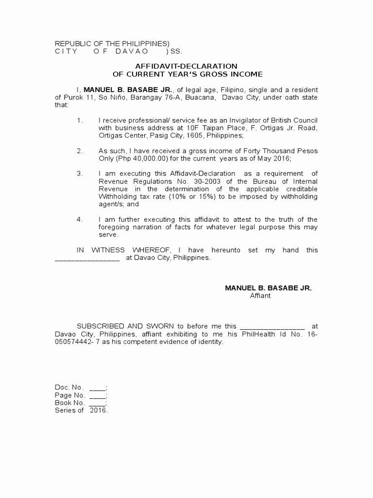 Affidavit Of No Income Luxury Affidavit Declaration Of In E