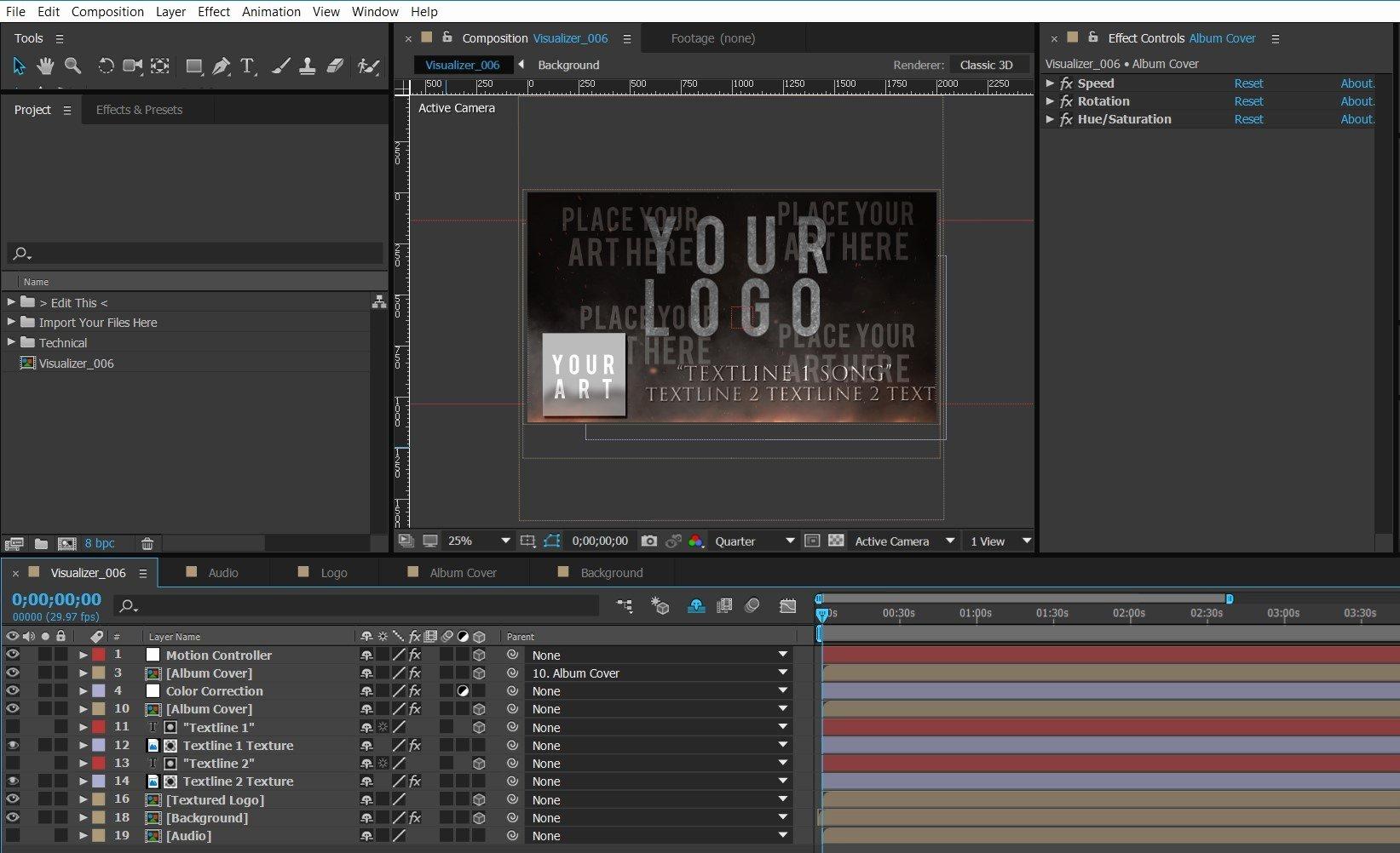 After Effects Lyric Video Template Inspirational 006 Bandlogo Under Fire – Premium Audio Visualizer