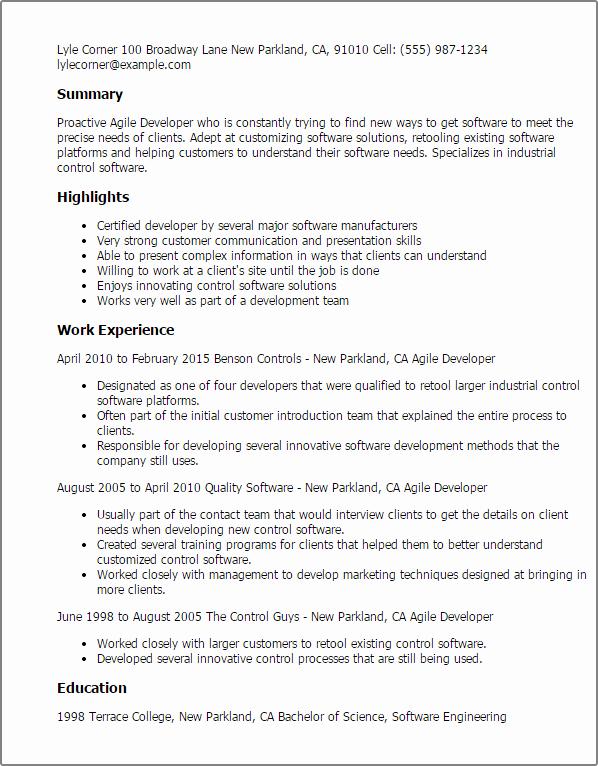agile resume