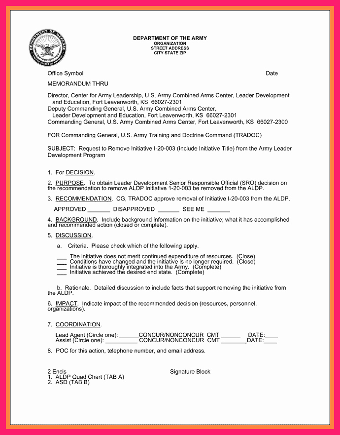 how to write an army memo for record wes4445