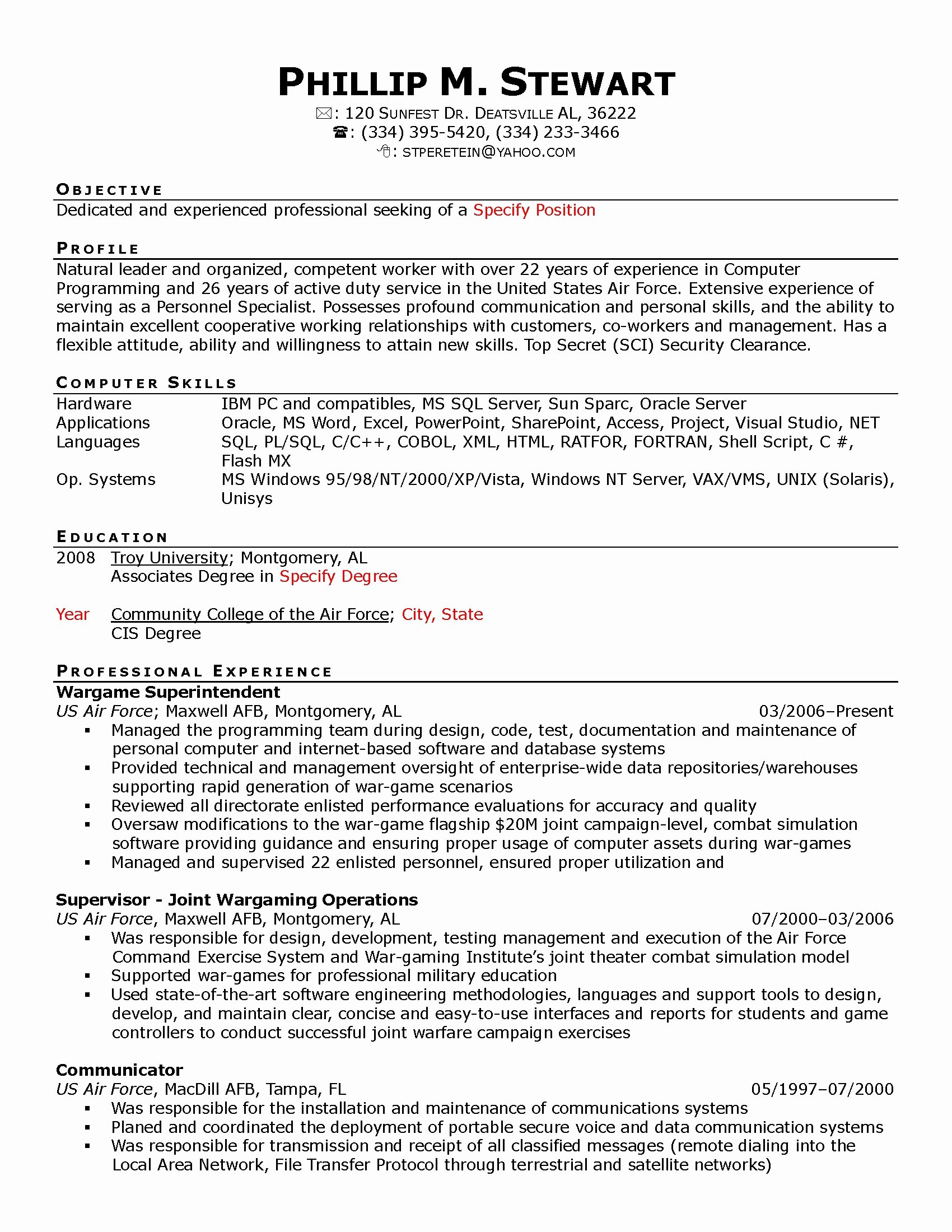 Air force Position Paper Template Fresh Personnel Security Specialist Resume Sample Resume Ideas