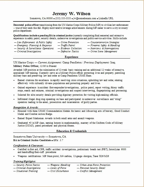 Air force Position Paper Template Inspirational Police Ficer Military to Civilian Resume Sample