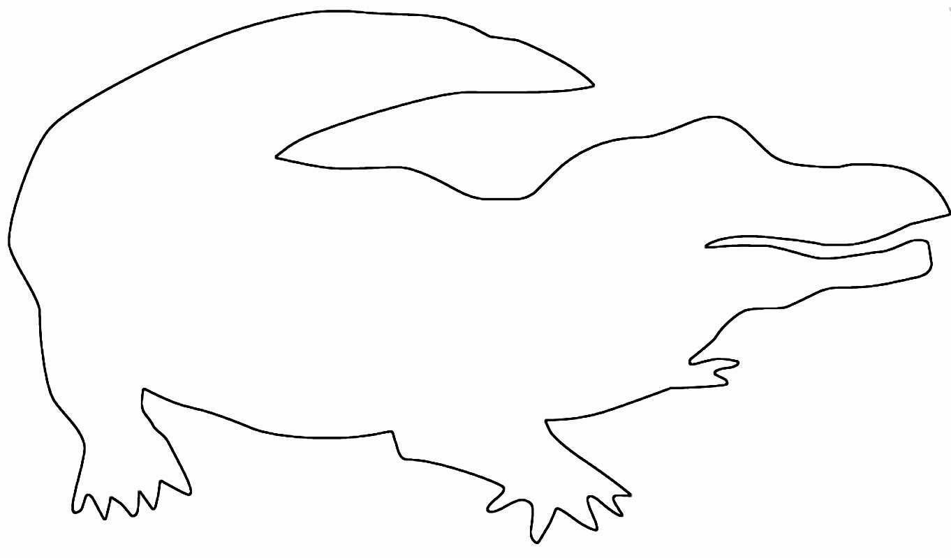 Alligator Template Printable New Drawn Alligator Outline Pencil and In Color Drawn