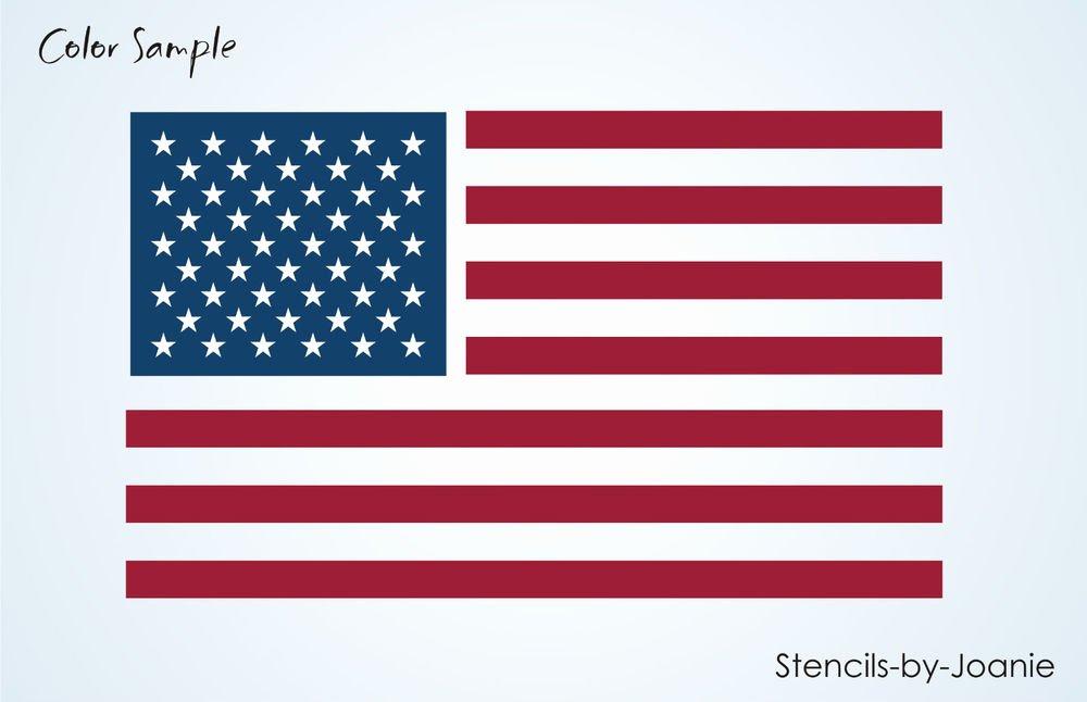 "American Flag Star Stencil Printable Elegant Stencil 6"" Amercian Flag Stripes 50 Stars Primitive"