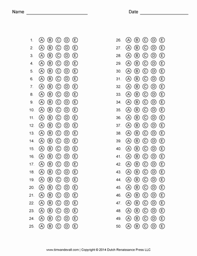 Answer Sheet Template 1-100 Unique Free Answer Sheet Templates Pdf for Multiple Choice Tests