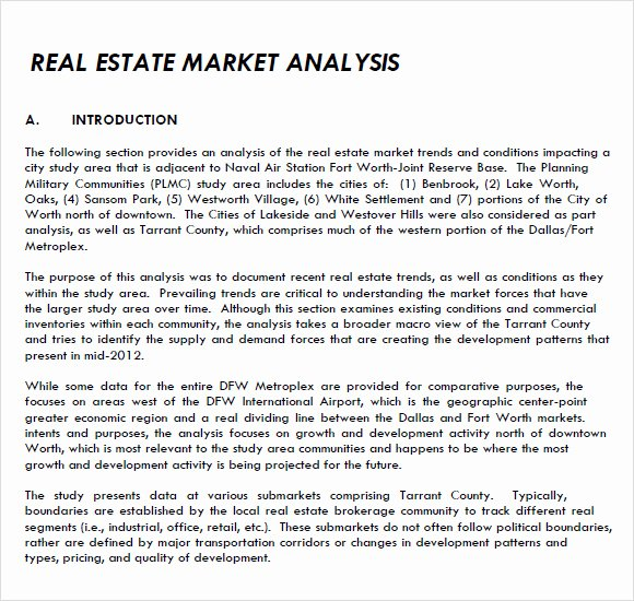 Apartment Market Survey Template Best Of 8 Real Estate Market Analysis Samples