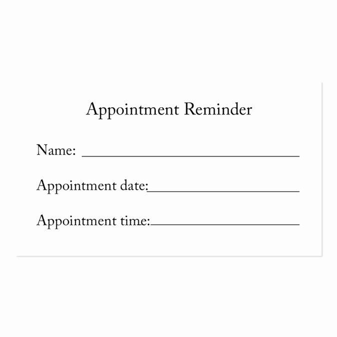 appointment reminder card business card template