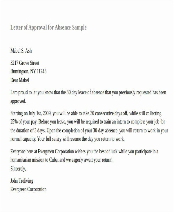 Approval Letter Example New formal Request Letters