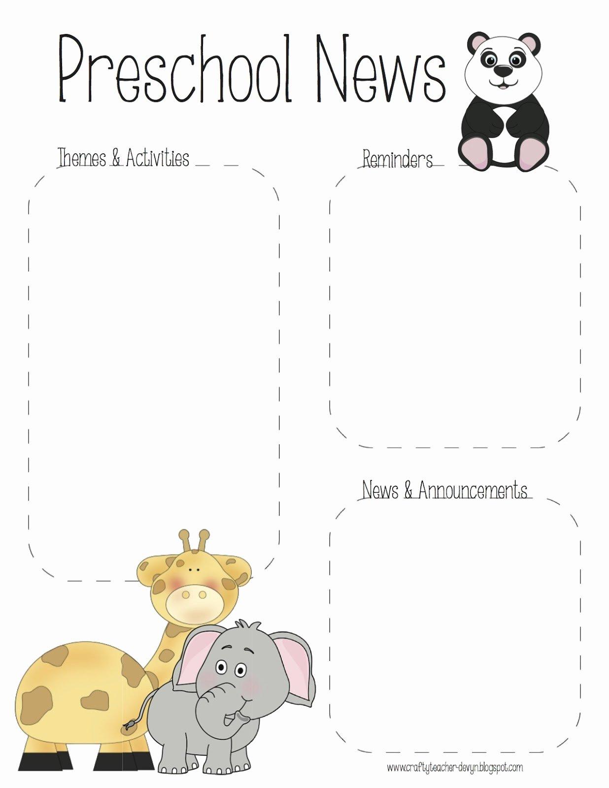 April Newsletter Template Best Of the Crafty Teacher Preschool Zoo Newsletter Template