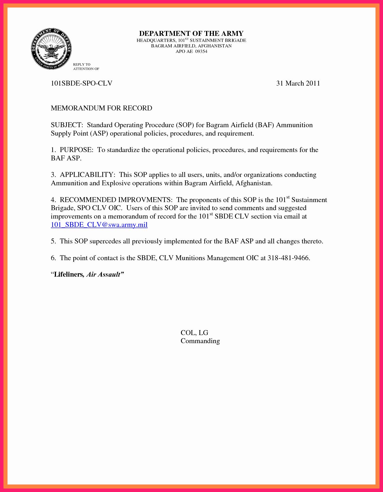 memorandum for record army