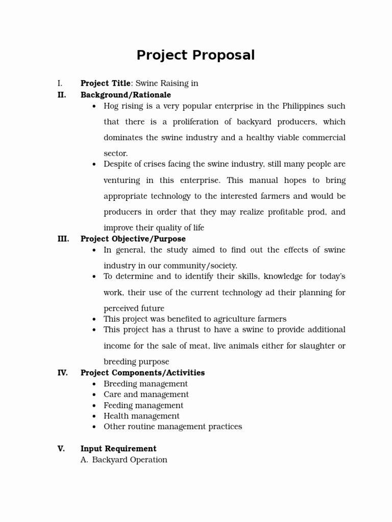 Project Proposal Swine Raising