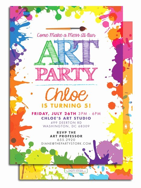 Art Show Invitation Template Elegant Art themed Birthday Party Invitations