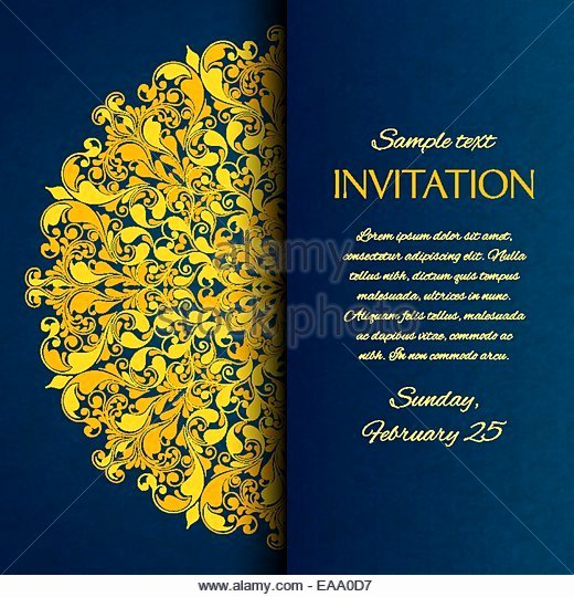 Art Show Invitation Template Elegant ornamental Invitation Card Gold Template Stock S