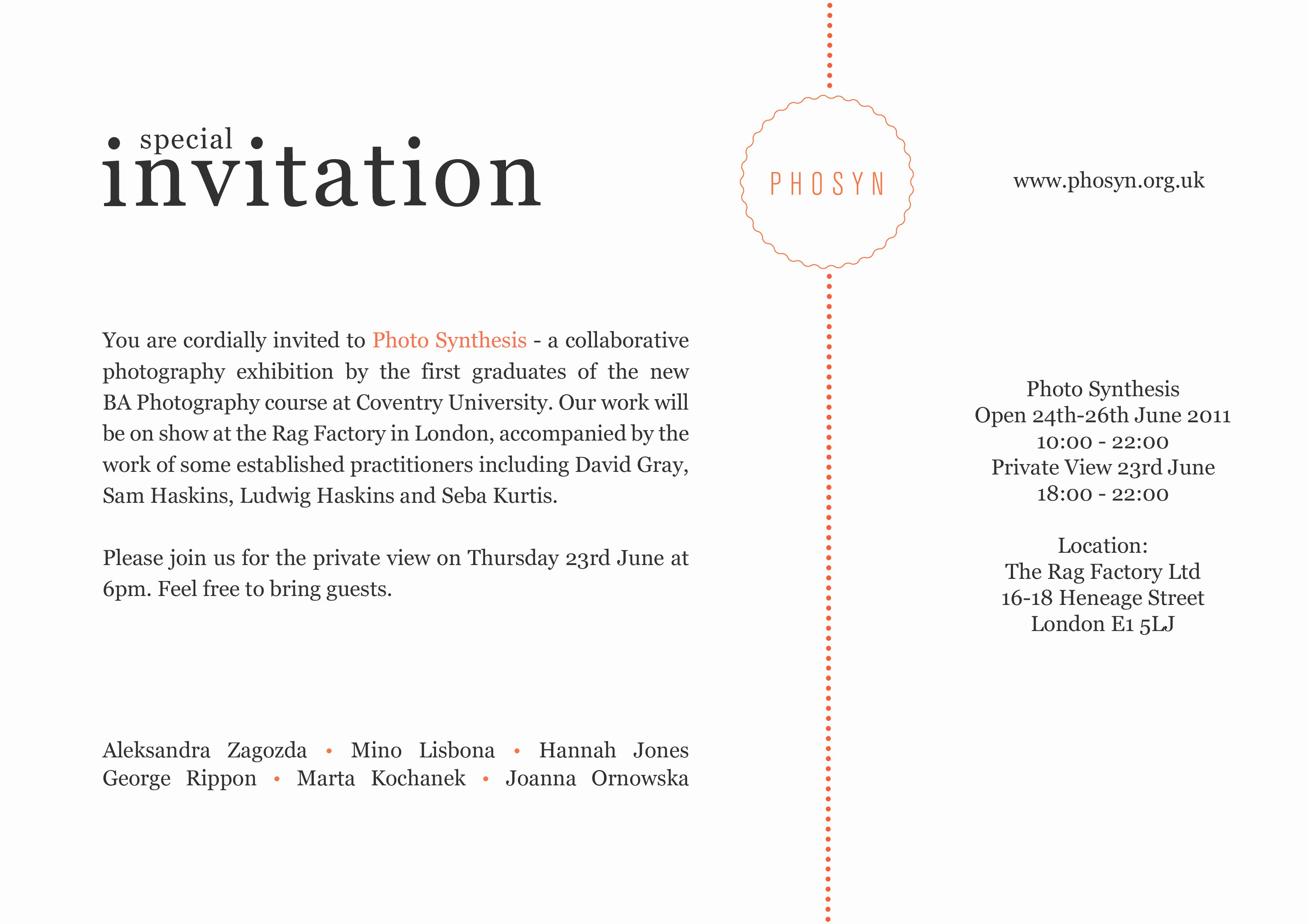 Art Show Invitation Template Inspirational Synthesis