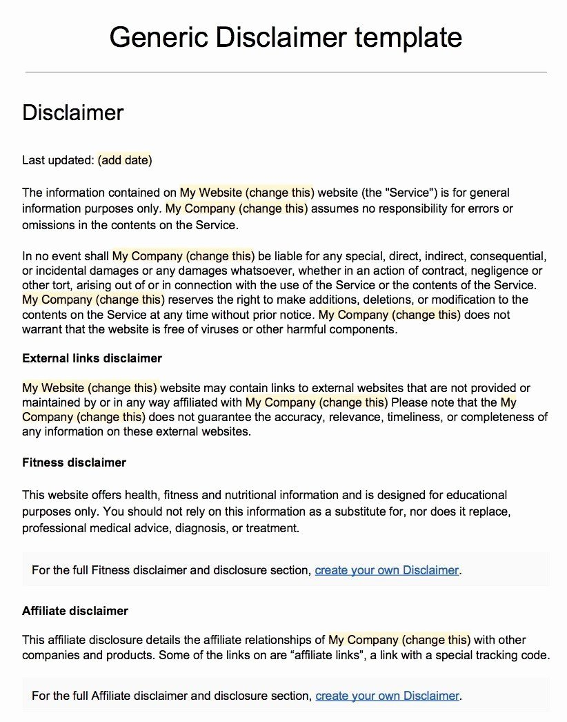 Artist Terms Of Service Template New Sample Disclaimer Template Termsfeed