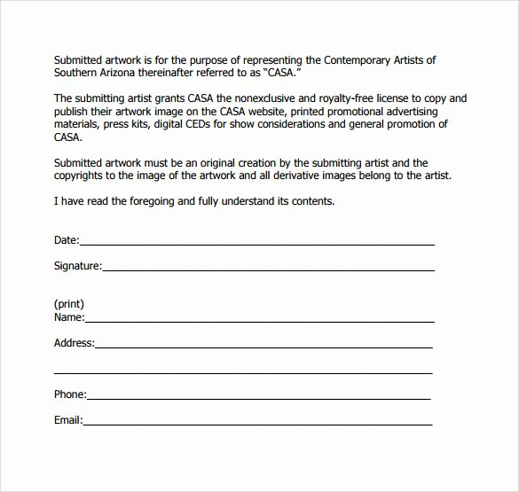 Artwork Release form Template Awesome Sample Artwork Release form 19 Download Free Documents