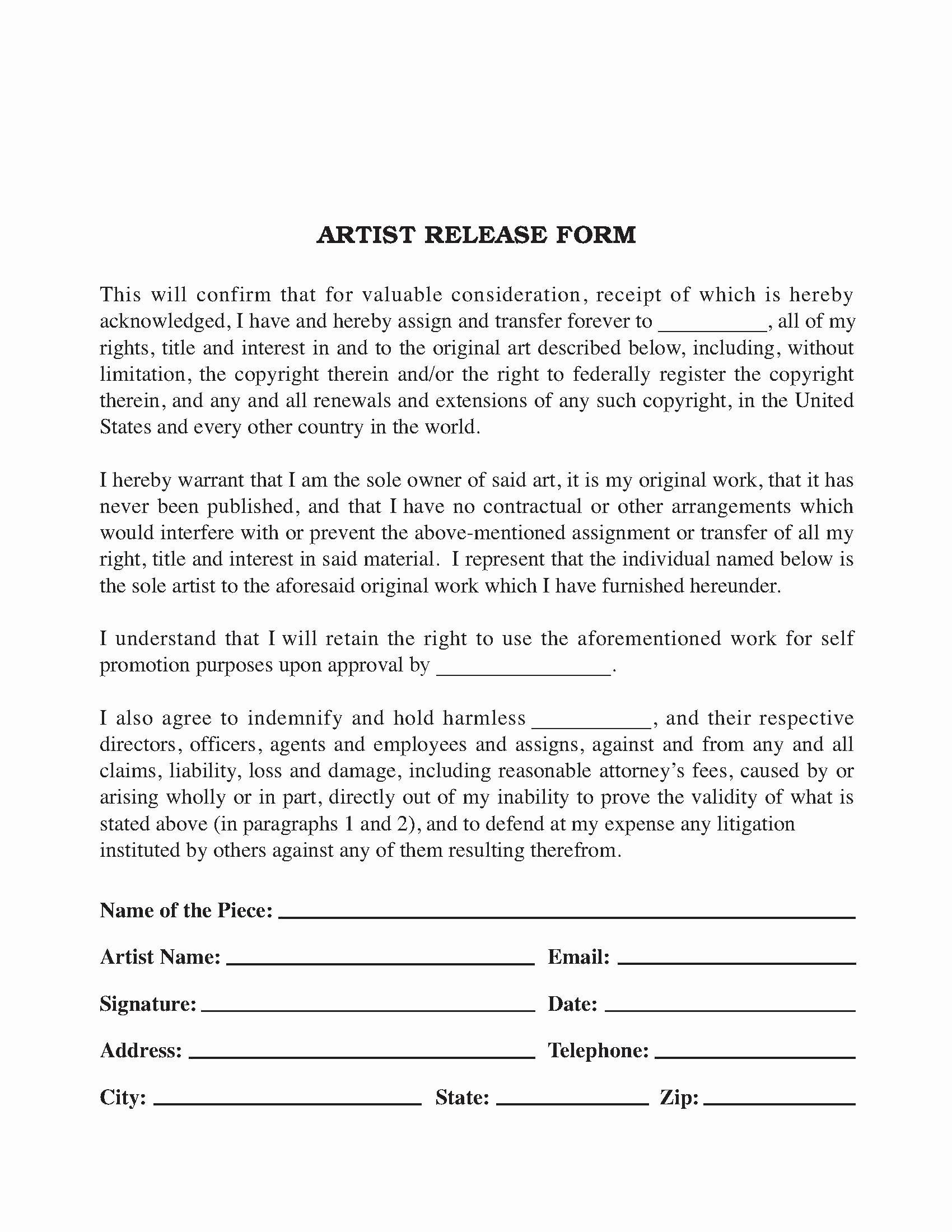 Artwork Release form Template Elegant Artist Artwork Release form Release forms Release forms