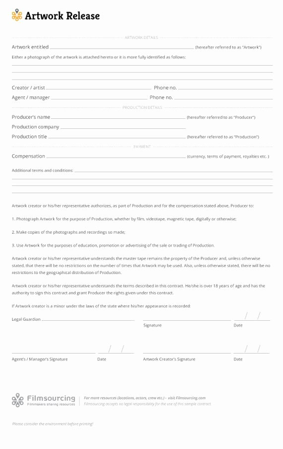 Artwork Release form Template Fresh 36 Best Images About Making Production Document