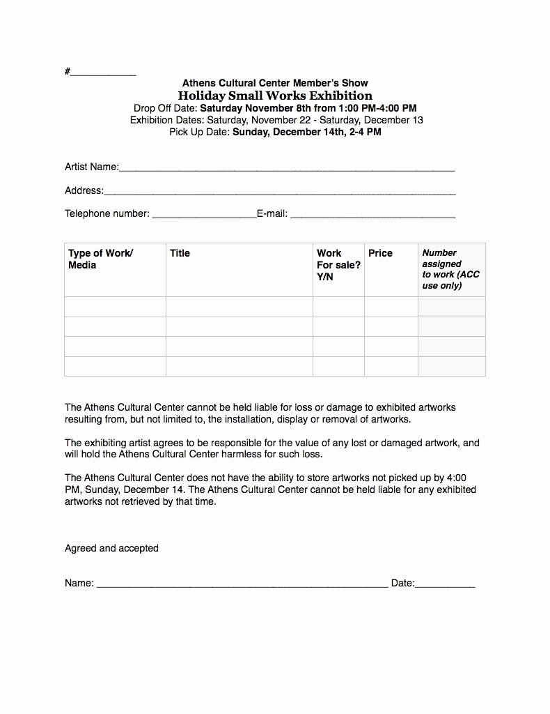 Artwork Release form Template Lovely Exhibitions