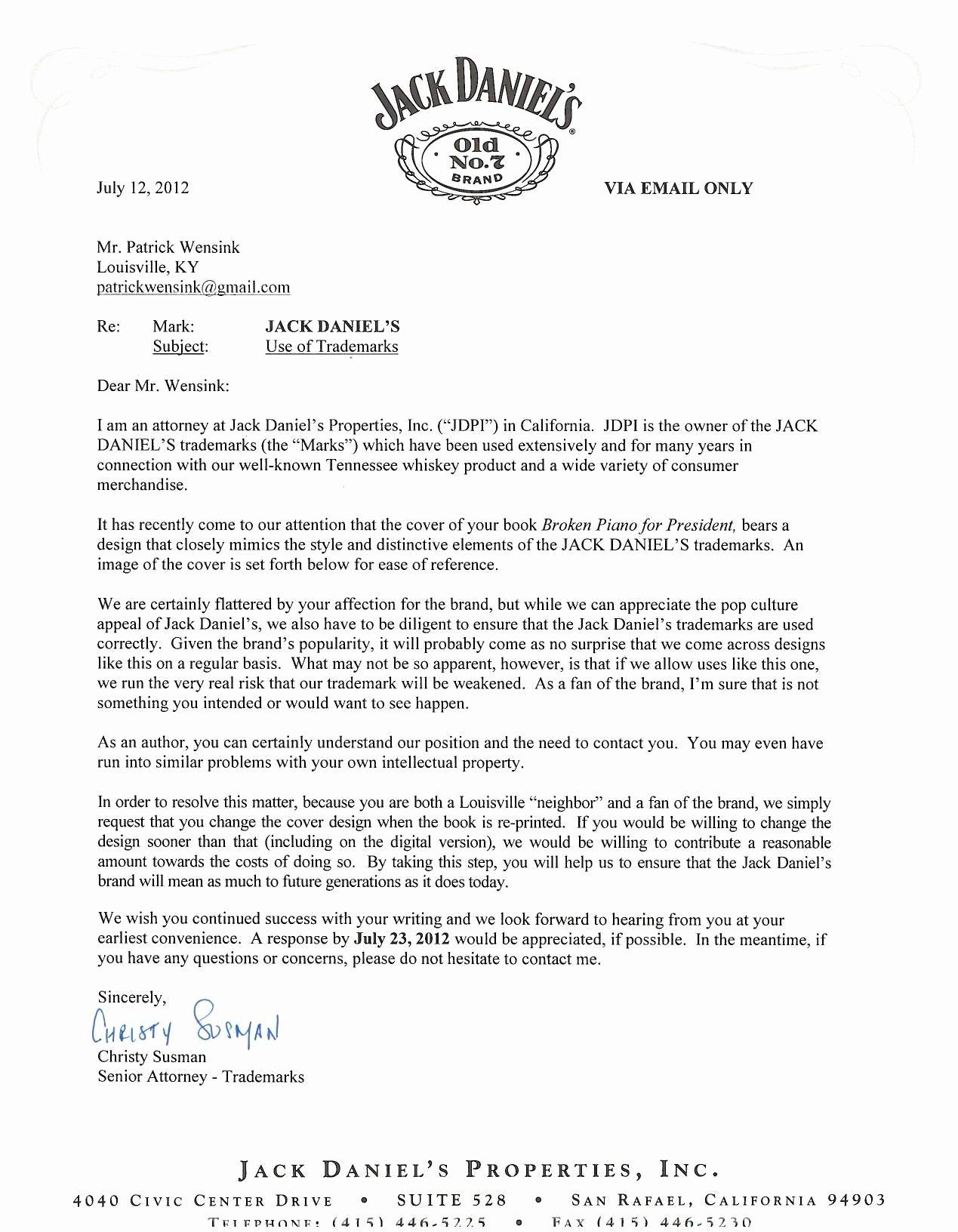 Attorney Client Letter Template Beautiful Jack Daniel S Fait La Promotion D Un écrivainenviedecrire