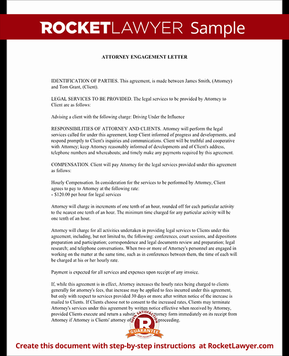 Attorney Client Letter Template New attorney Engagement Letter for Law Firm Client