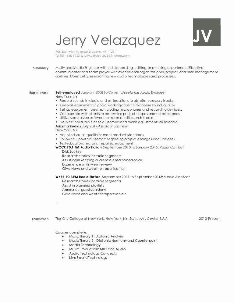 jerry velazquez audio engineer resume