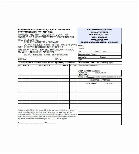 Auto Repair Estimate form Pdf Best Of 11 Repair Invoice Templates – Pdf Word Excel