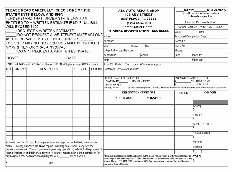 Auto Repair Estimate form Pdf Lovely Carbonless forms Ncr