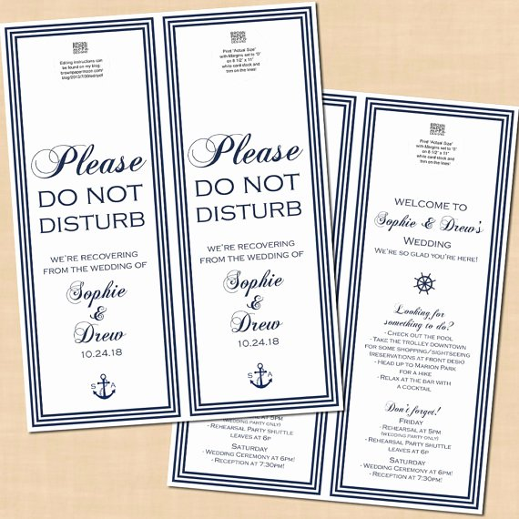 Avery Door Hanger Template for Word Lovely Nautical Do Not Disturb Door Hanger Wedding Itinerary Navy