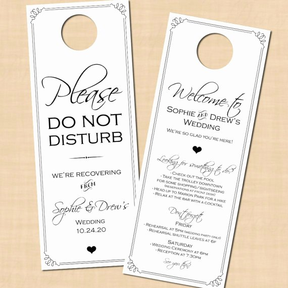 Avery Door Hanger Template for Word New Classic White Do Not Disturb Door Hanger Wedding Itinerary