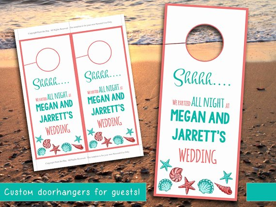 Avery Door Hanger Template for Word Unique Beach Wedding Door Hanger Template Seashell Coral Teal