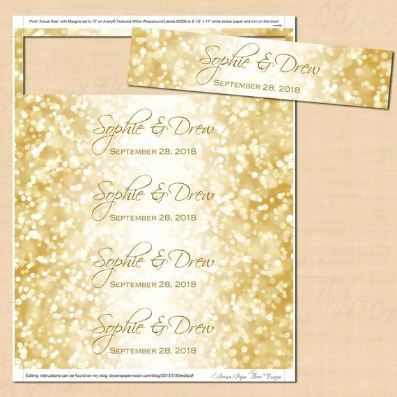 Avery Door Hanger Template for Word Unique White Gold Sparkles Water Bottle Labels Text Editable