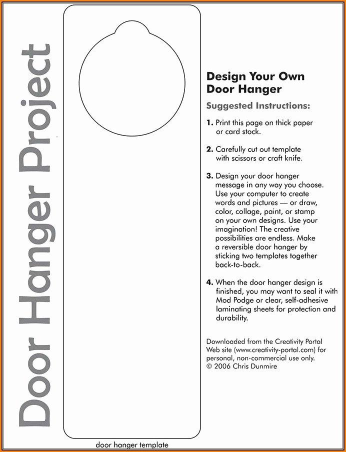 free door hanger template for word