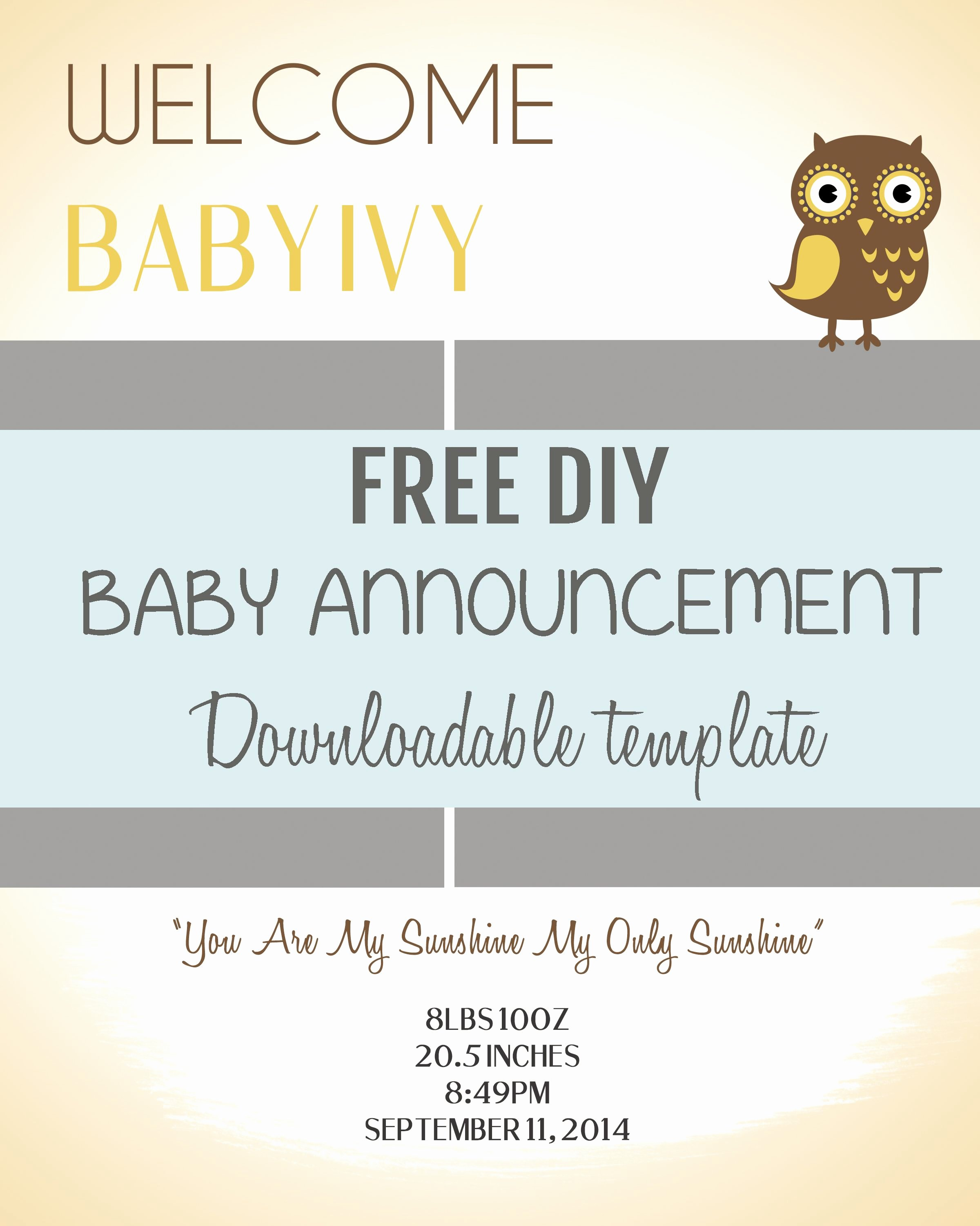 Baby Announcement Email New Diy Baby Announcement Template Pee Wee