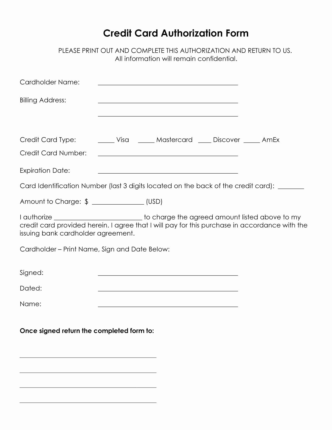 Back Charge Construction Lovely Authorization for Credit Card Use Free forms Download