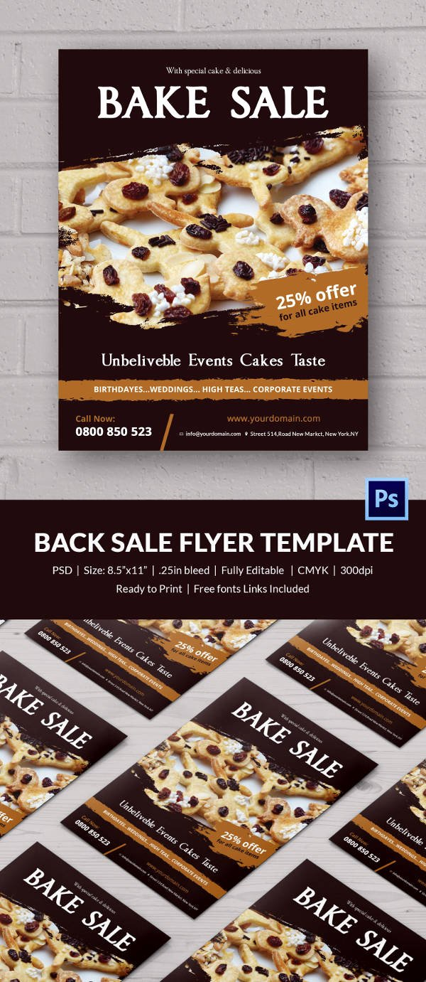 Bake Sale Flyer Templates Free Lovely Bake Sale Flyer Template 24 Free Psd Indesign Ai