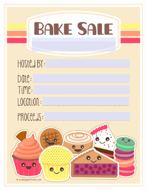 Bake Sale Flyer Templates Free Luxury Bake Sale Printable Labels Set