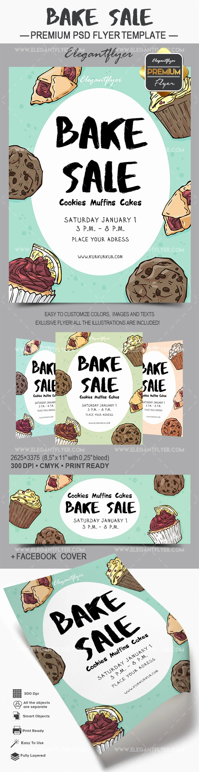 Bake Sale Flyer Templates Free Unique Flyer for Bake Sale Cookies Muffins Cakes – by Elegantflyer