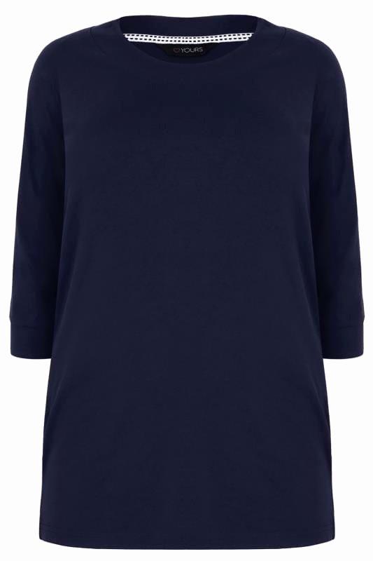 Dunkel Blaues T Shirt Mit 34 Ärmel p