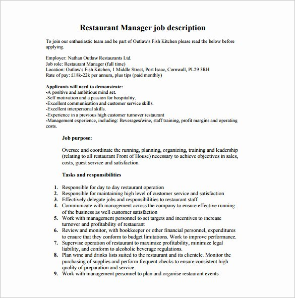 Bar Manager Job Description Resume Beautiful Restaurant Manager Job Description Templates 13 Free