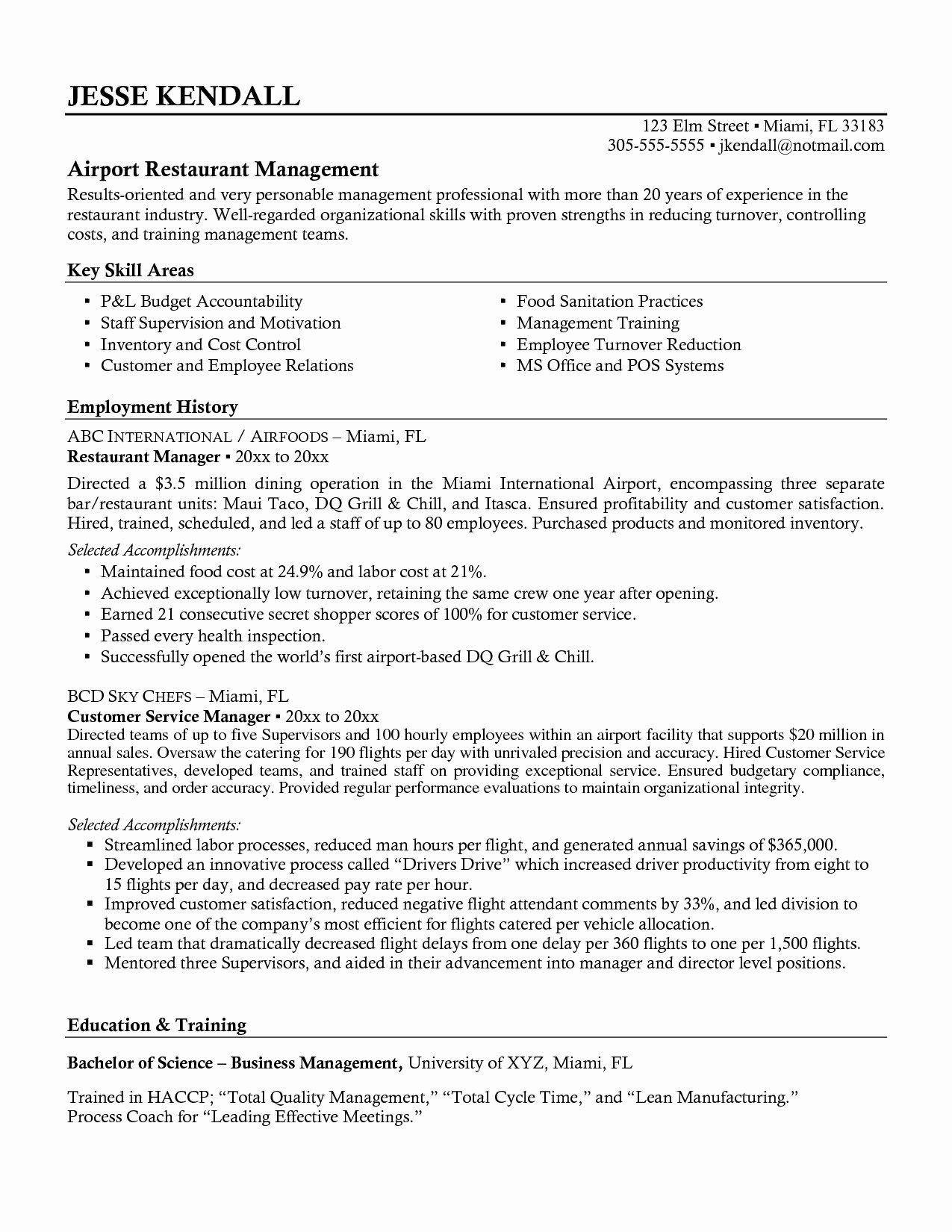Bar Manager Job Description Resume Best Of Restaurant General Manager Resume Hirnsturm