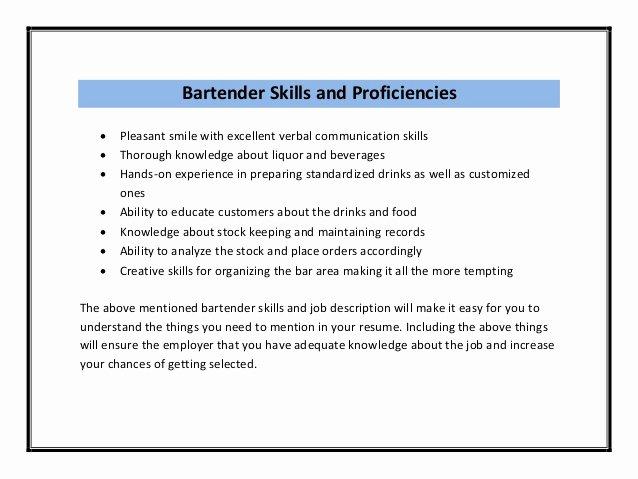 Bar Manager Job Description Resume Elegant Bartender Resume Sample Pdf