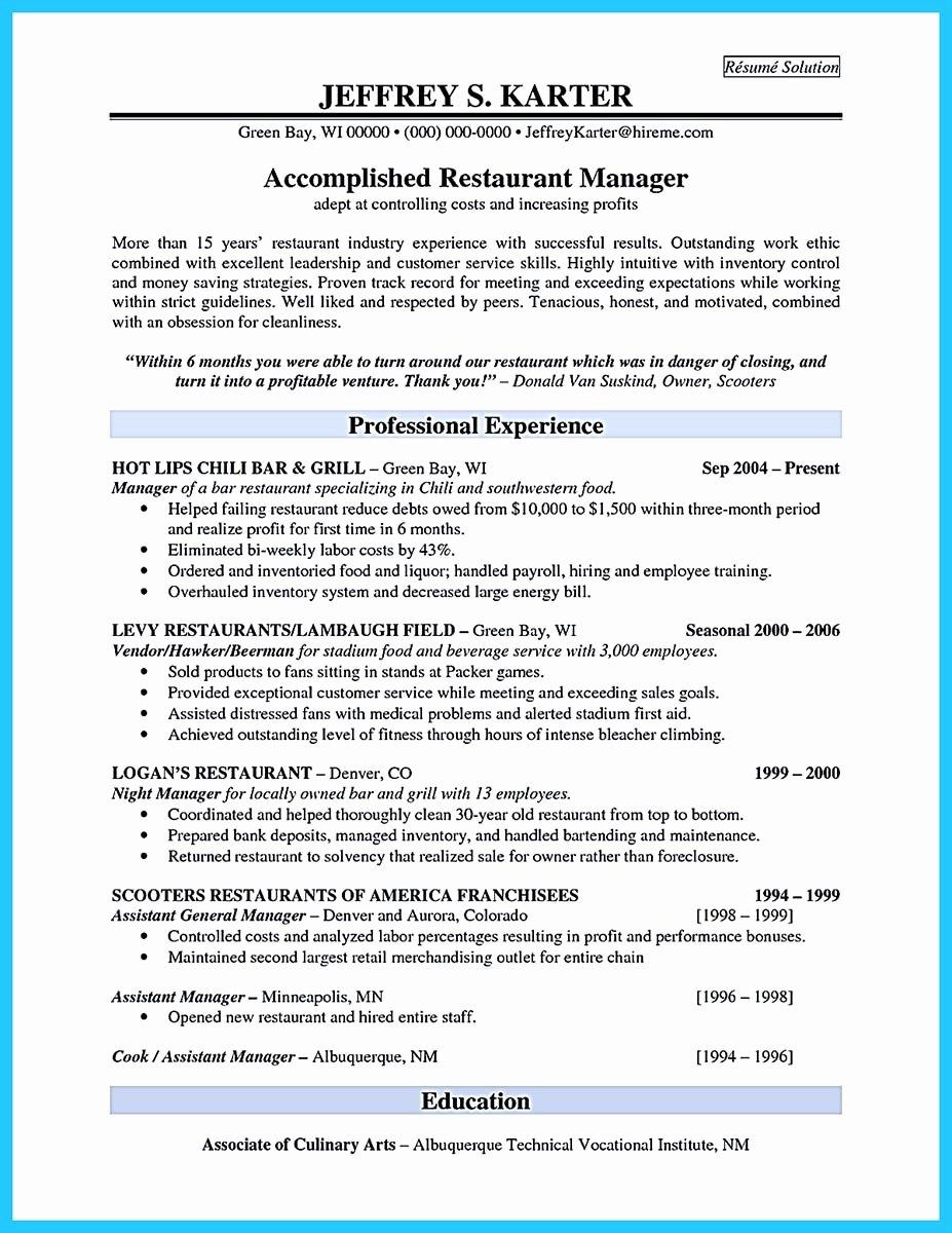 Bar Manager Job Description Resume Elegant Brilliant Bar Manager Resume Tips to Grab the Bar Manager Job
